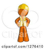 Clipart Of A Sketched Stern Construction Worker Orange Man In A Vest With Hands On His Hips Royalty Free Illustration