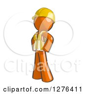 Clipart Of A Sketched Stern Construction Worker Orange Man In A Vest Facing Left With Hands On His Hips Royalty Free Illustration