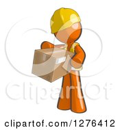 Clipart Of A Sketched Construction Worker Orange Man In A Vest Holding Out A Package Royalty Free Illustration by Leo Blanchette