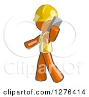 Clipart Of A Sketched Construction Worker Orange Man In A Vest Walking And Talking On A Cell Phone Royalty Free Illustration by Leo Blanchette