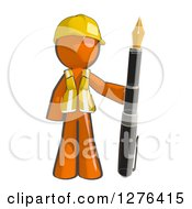 Clipart Of A Sketched Construction Worker Orange Man In A Vest Standing With A Giant Fountain Pen Royalty Free Illustration