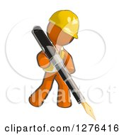 Clipart Of A Sketched Construction Worker Orange Man In A Vest Writing With A Giant Fountain Pen Royalty Free Illustration