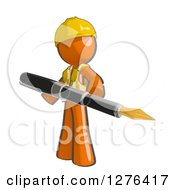 Clipart Of A Sketched Construction Worker Orange Man In A Vest Holding A Giant Fountain Pen Royalty Free Illustration