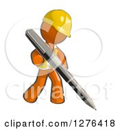 Clipart Of A Sketched Construction Worker Orange Man In A Vest Writing With A Giant Ballpoint Pen Royalty Free Illustration