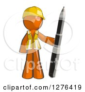 Clipart Of A Sketched Construction Worker Orange Man In A Vest Standing With A Giant Ballpoint Pen Royalty Free Illustration
