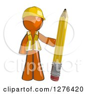 Clipart Of A Sketched Construction Worker Orange Man In A Vest Standing With A Giant Pencil Royalty Free Illustration