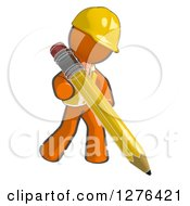 Clipart Of A Sketched Construction Worker Orange Man In A Vest Writing With A Giant Pencil Royalty Free Illustration
