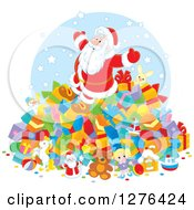 Clipart Of A Cheerful Santa Claus On Top Of A Pile Of Christmas Presents Royalty Free Vector Illustration