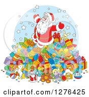 Clipart Of A Cheerful Santa Claus On Top Of A Pile Of Christmas Gifts Royalty Free Vector Illustration