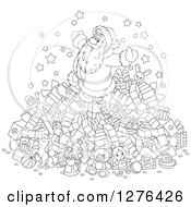 Clipart Of A Black And White Cheerful Santa Claus On Top Of A Pile Of Christmas Presents Royalty Free Vector Illustration