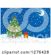 Clipart Of A Christmas Tree And Gift Under A Crescent Moon On A Winter Night Royalty Free Vector Illustration