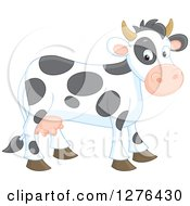 Clipart Of A Cute Happy Cow Royalty Free Vector Illustration by Alex Bannykh