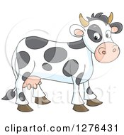 Clipart Of A Cute Spotted Cow Royalty Free Vector Illustration