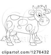 Clipart Of A Black And White Cute Spotted Cow Royalty Free Vector Illustration by Alex Bannykh