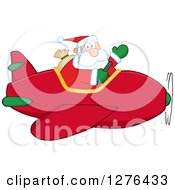Clipart Of A Waving Santa Claus Piloting A Red Christmas Plane Royalty Free Vector Illustration