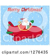 Merry Christmas Greeting Over A Waving Santa Claus Piloting A Red Christmas Plane In The Snow