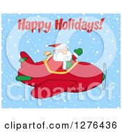 Clipart Of A Happy Holidays Greeting Over A Waving Santa Claus Piloting A Red Christmas Plane In The Snow Royalty Free Vector Illustration