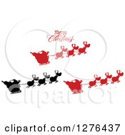 Clipart Of A Merry Christmas Greeting Over A Silhouetted Santas And Flying Reindeer Royalty Free Vector Illustration