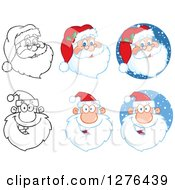 Black And White And Colored Christmas Santa Faces