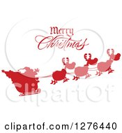 Clipart Of A Merry Christmas Greeting Over A Red Silhouetted Santa And Flying Reindeer Royalty Free Vector Illustration