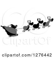 Clipart Of A Black And White Silhouetted Santa Waving And His Magic Reindeer And Sleigh Royalty Free Vector Illustration