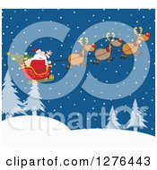 Clipart Of A Team Of Magic Reindeer Flying Santa In His Sleigh Over A Winter Landscape At Night Royalty Free Vector Illustration