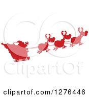 Clipart Of A Red Silhouetted Santa Waving And His Magic Reindeer And Sleigh Royalty Free Vector Illustration