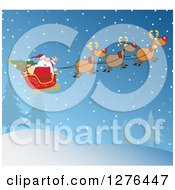 Clipart Of A Team Of Magic Reindeer Flying Santa In His Sleigh Over A Winter Night Landscape Royalty Free Vector Illustration