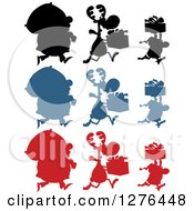 Clipart Of Silhouetted Santas Reindeer And Elves With Sacks And Christmas Gifts Royalty Free Vector Illustration