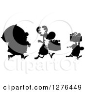 Clipart Of A Black Silhouetted Santa Reindeer And Elf With A Christmas Sack And Gifts Royalty Free Vector Illustration