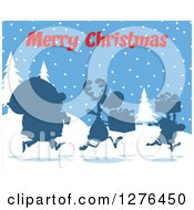 Merry Christmas Greeting Over A Silhouetted Santa Reindeer And Elf With A Sack And Gifts In The Snow