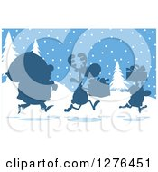 Silhouetted Santa Reindeer And Elf With A Christmas Sack And Gifts In The Snow