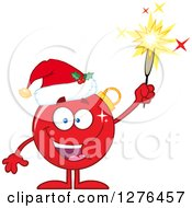 Clipart Of A Happy Red Christmas Bauble Ornament Character Wearing A Santa Hat And Holding Up A Firework Royalty Free Vector Illustration