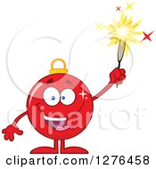 Clipart Of A Happy Red Christmas Bauble Ornament Character Holding Up A Firework Royalty Free Vector Illustration