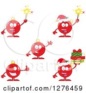 Clipart Of Red Christmas Bauble Ornament Characters Royalty Free Vector Illustration by Hit Toon