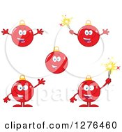 Clipart Of Red Christmas Bauble Ornament Characters 2 Royalty Free Vector Illustration by Hit Toon