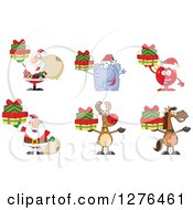 Clipart Of Christmas Santas Elephant Bauble Reindeer And Horse Holding Gifts Royalty Free Vector Illustration