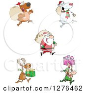 Christmas Santa Claus Bears Reindeer And Elf With Sacks And Gifts