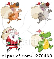 Christmas Santa Claus Bears And Alligator With Sacks