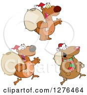Christmas Santa Claus Bears With Sacks