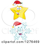 Clipart Of A Happy Christmas Snowflake And Star Wearing Santa Hats Royalty Free Vector Illustration by Hit Toon