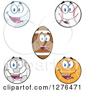 Clipart Of A Happy Soccer Ball Basketball American Football Baseball And Golf Ball Royalty Free Vector Illustration