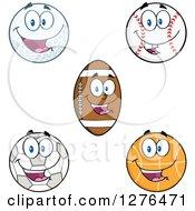 Happy Soccer Ball Basketball American Football Baseball And Golf Ball