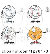 Clipart Of A Winking Soccer Ball Basketball Baseball And Golf Ball Giving Thumbs Up Royalty Free Vector Illustration