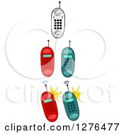 Clipart Of Black And White And Colored Cell Phones Royalty Free Vector Illustration