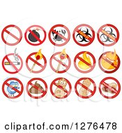 Clipart Of A Prohibited Restriction Symbols Over A Bomb Crab Ebola Cigarette Match Fire Fly Poop And Peanuts Royalty Free Vector Illustration by Hit Toon