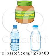 Clipart Of A Peanut Butter Jar Water Bottle And Milk Jar Royalty Free Vector Illustration
