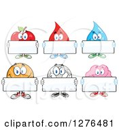 Clipart Of A Happy Apple Blood Drop Water Drop Basketball Soccer Ball And Brain Holding Blank Signs Royalty Free Vector Illustration