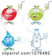 Clipart Of A Happy Red And Green Apples Water Drop And Milk Jar Holding Up Cups Royalty Free Vector Illustration