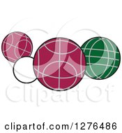Clipart Of White Red And Green Bocce Balls Royalty Free Vector Illustration